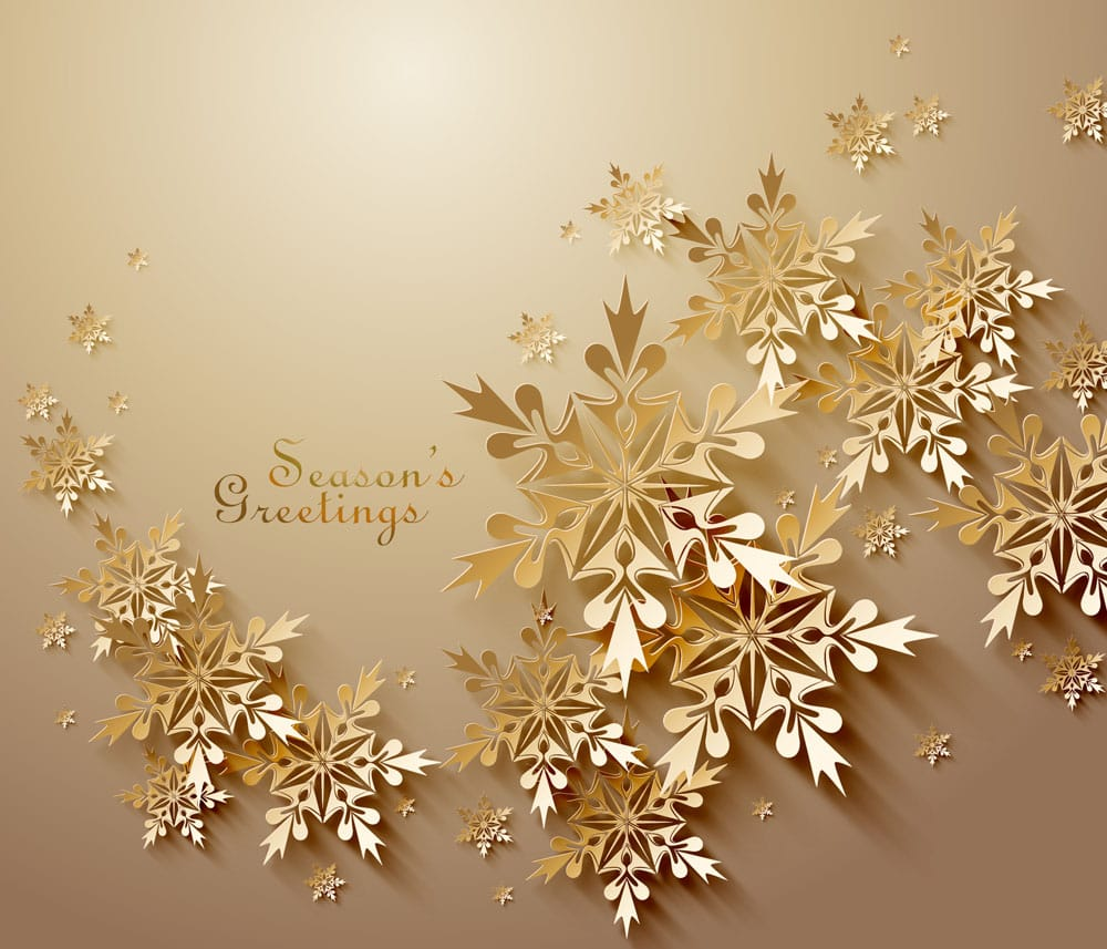 Golden Christmas greeting card snowflakes